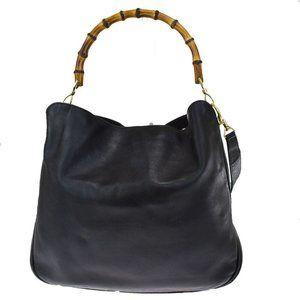 Authentic GUCCI Logo Bamboo 2Way Shoulder Hand Bag